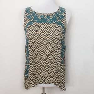 Vanessa Virginia Anapia Patterned Embroidered Tank